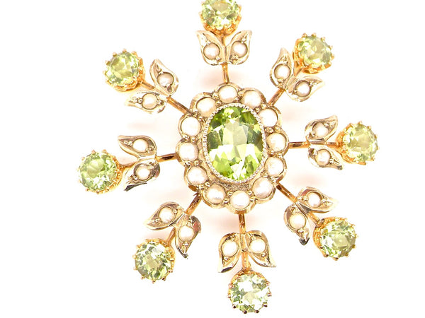 An Edwardian peridot and pearl pendant