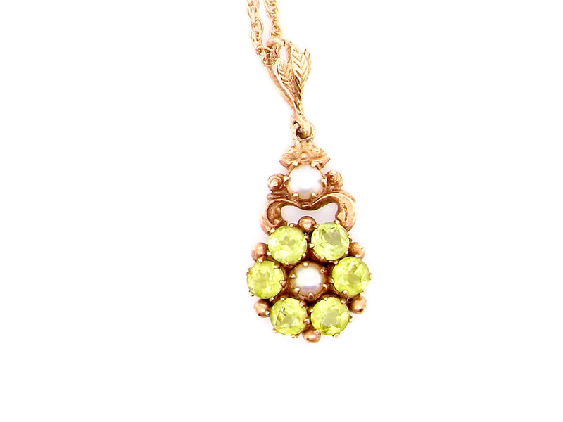 A Victorian style peridot and pearl pendant