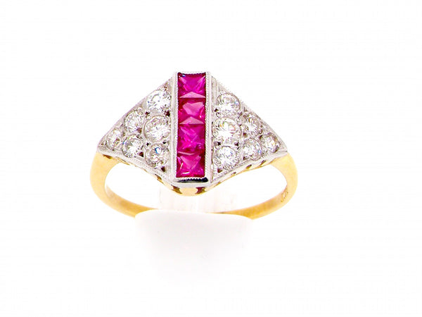 A pretty Art Deco ruby and diamond ring
