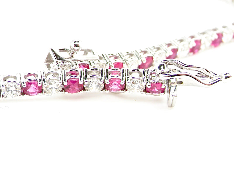 A fine ruby and diamond line bracelet
