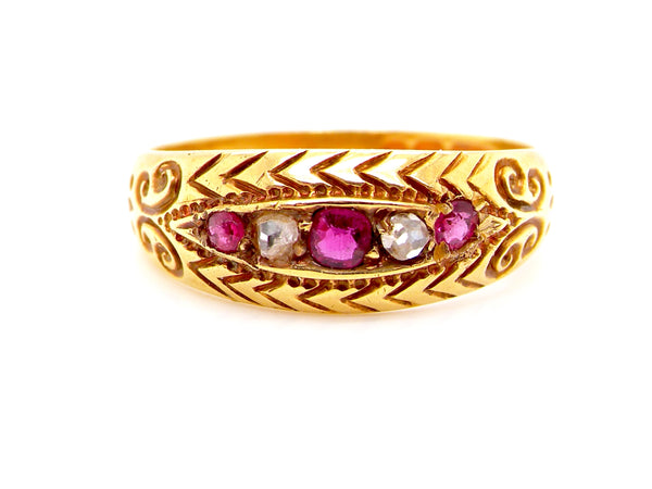 A Victorian ruby and diamond ring