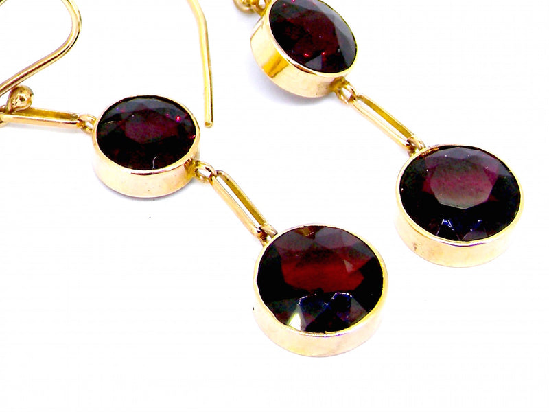 A pair of vintage garnet drop earrings