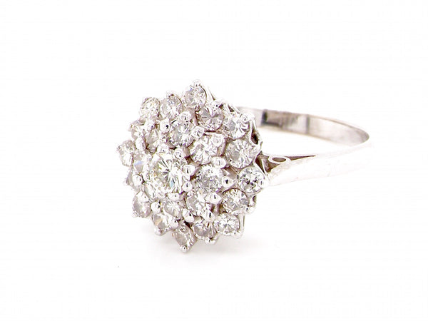 A 1950s style diamond cluster ring