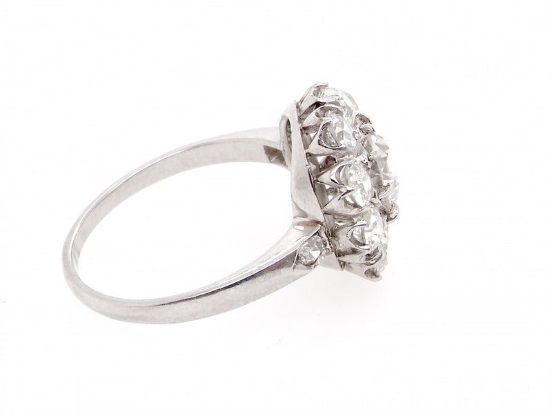 A fabulous 2ct platinum diamond cluster gem ring