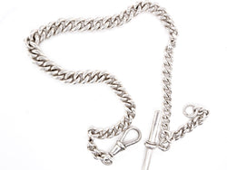 A vintage sterling silver watch Albert chain