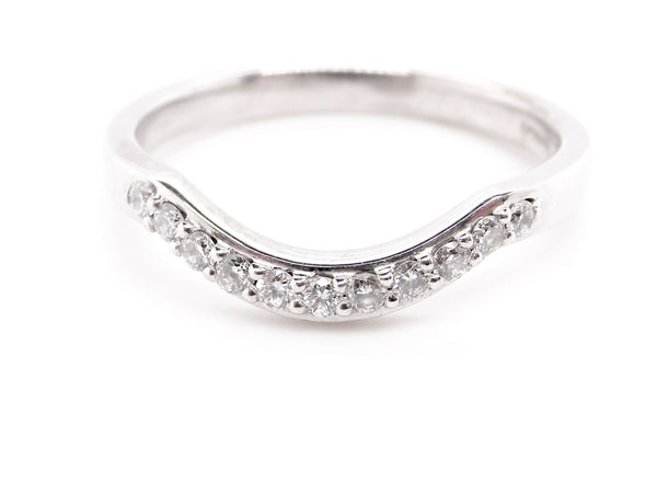 An 18 carat white gold shaped wishbone diamond ring *RESERVED*