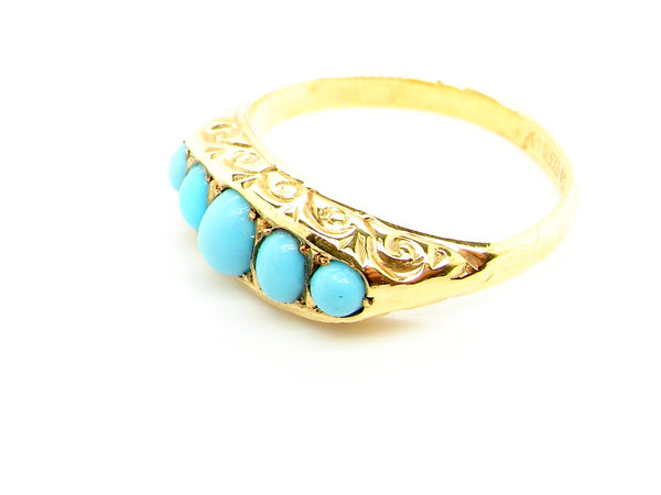 A five stone turquoise dress ring
