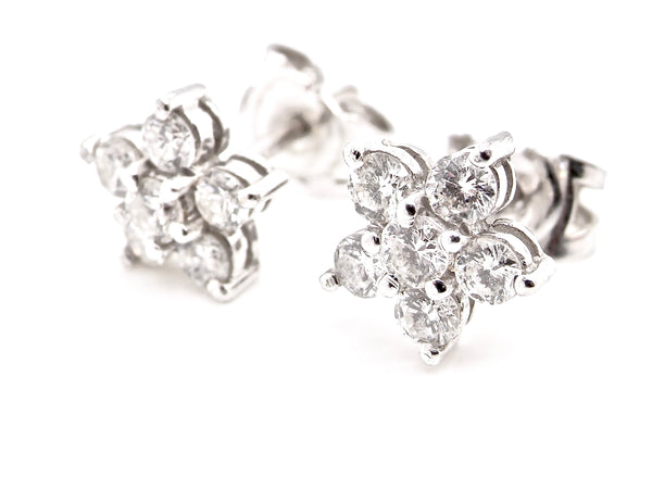 A pair of diamond cluster earrings *RESERVED*