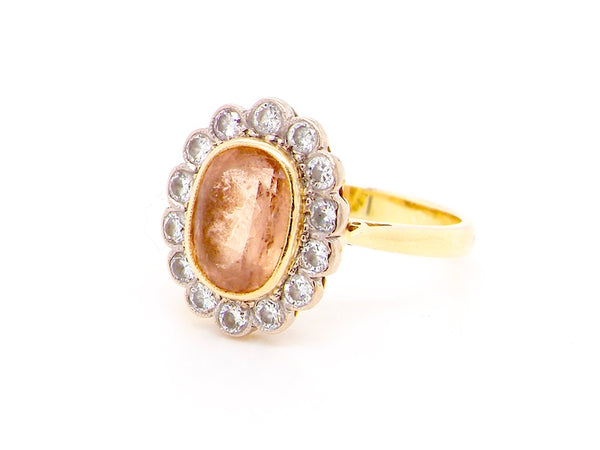 A yellow topaz and diamond cluster ring *RESERVED*