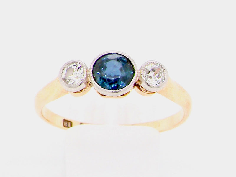 A pretty early 20th century sapphire and diamond ring