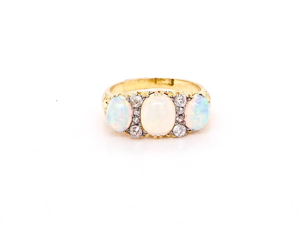 A late Victorian opal and diamond dress ring