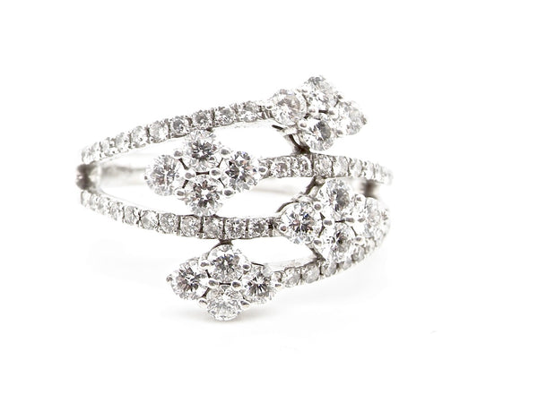 A modern diamond cocktail ring