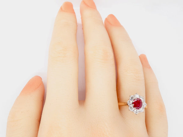 A vintage ruby and diamond two stone ring