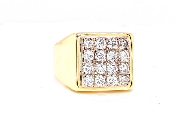 A Mans's 18 Carat Gold Diamond Signet Ring