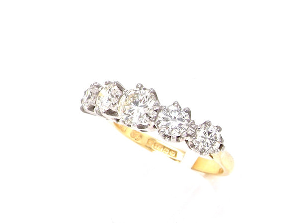 A fine five stone diamond ring