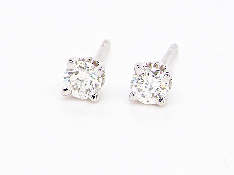 A pair of 18 carat white gold diamond stud earrings