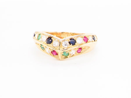 A multi gemstone wishbone style ring