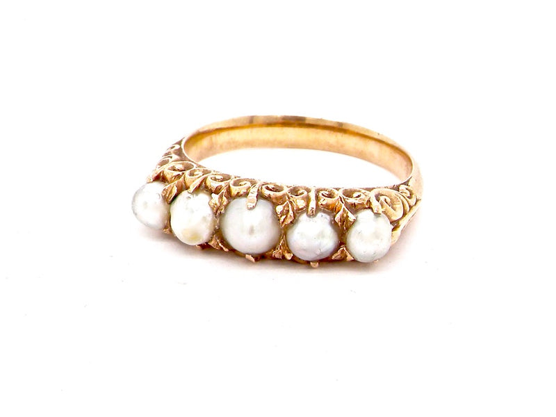 A five stone natural pearl Victorian dress ring