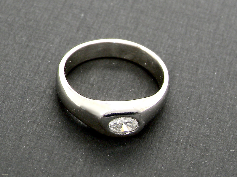 A modern platinum diamond ring