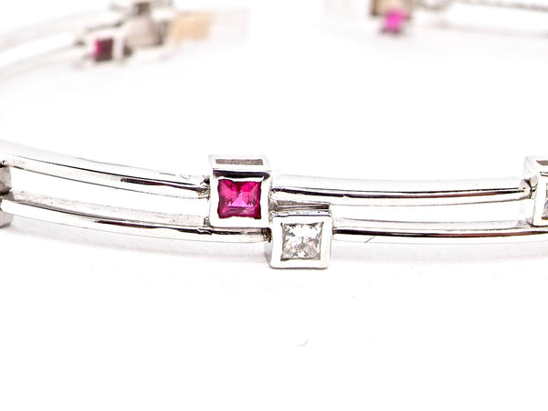 An Italian ruby and diamond tennis bracelet