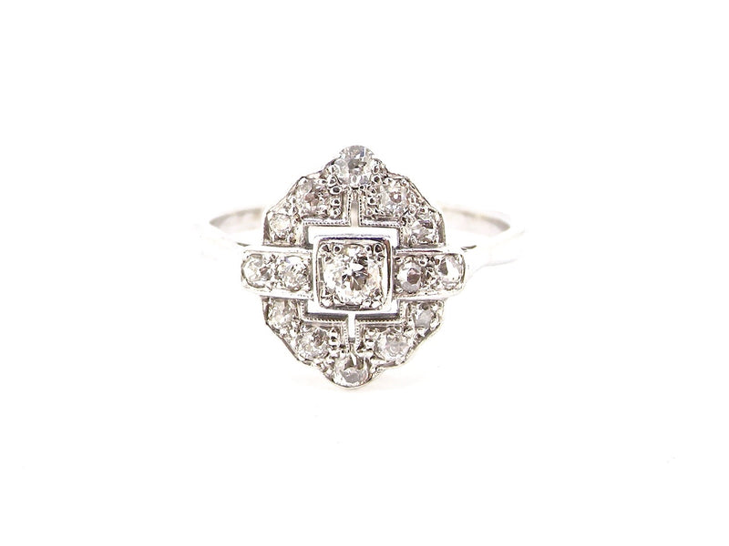 An Edwardian platinum diamond cluster ring