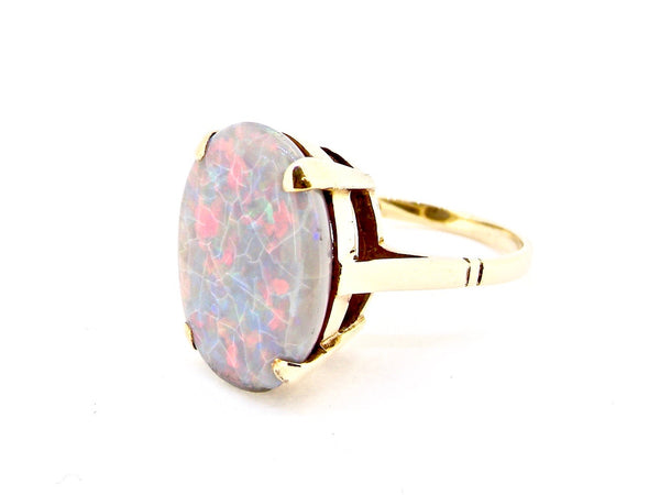 An opal dress ring