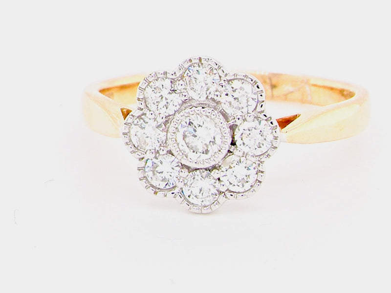 A fine 18  carat gold and platinum diamond cluster ring