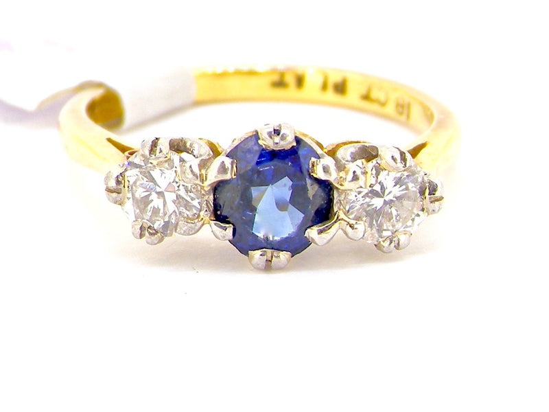 A traditional three stone sapphire and diamond ring *SOLD*