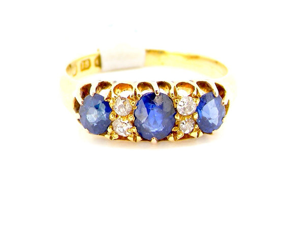 A Victorian sapphire and diamond ring