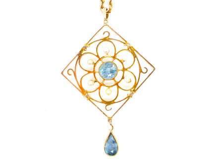 A fine vintage blue zircon and pearl pendant