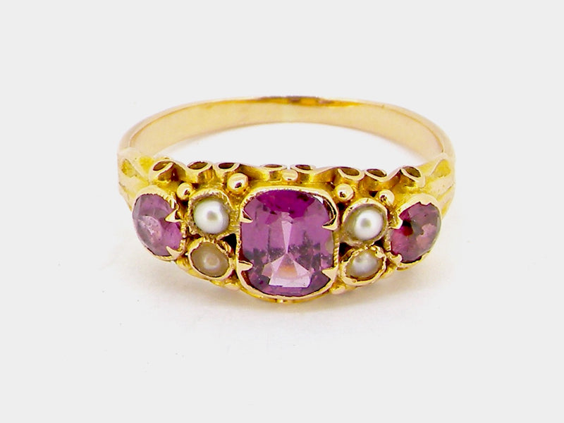 A Victorian almandine garnet and pearl dress ring