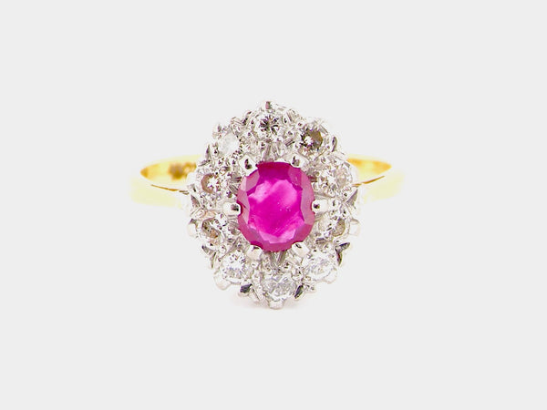 A mid 20th century ruby and diamond cluster ring