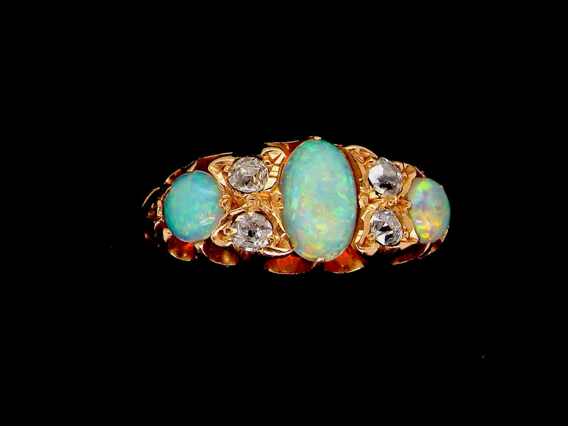 A Victorian opal and diamond ring