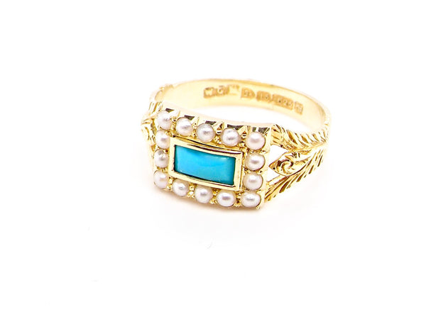 A fine Edwardian turquoise and pearl dress ring