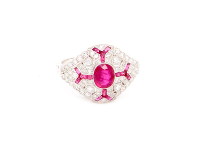 A fine ruby and diamond platinum cocktail ring
