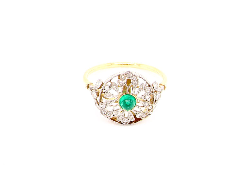 A fine Art Nouveau emerald and diamond cluster ring