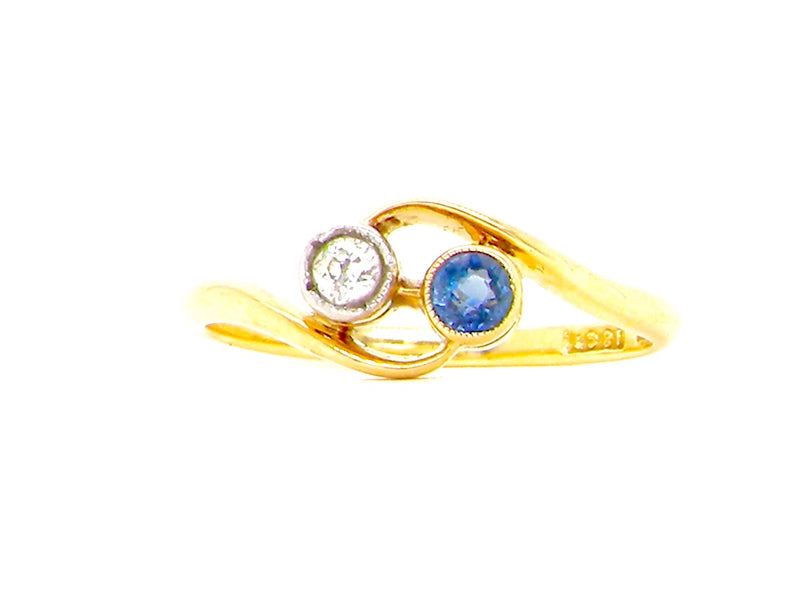 A sapphire and diamond toi et moi ring