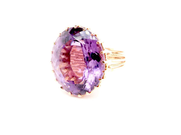 A large amethyst cocktail ring