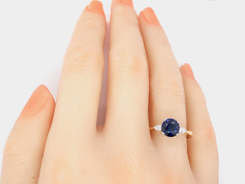 A modern sapphire and diamond ring