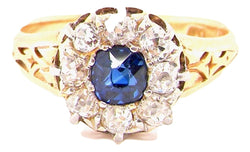 A vintage sapphire and diamond cluster ring