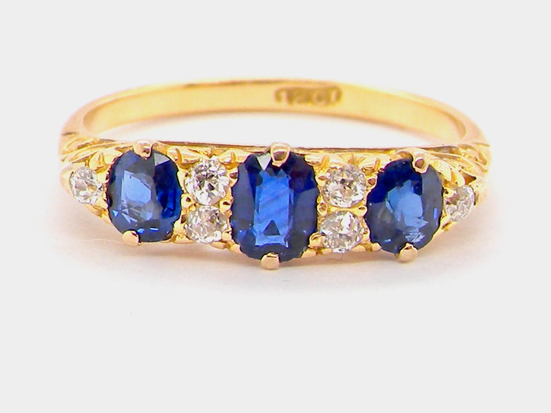 A vintage sapphire and diamond half hoop ring *RESERVED*