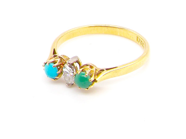 A vintage turquoise and diamond ring