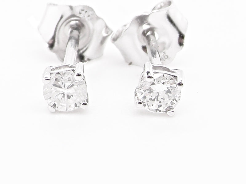 A pair of 9 carat white gold diamond earrings