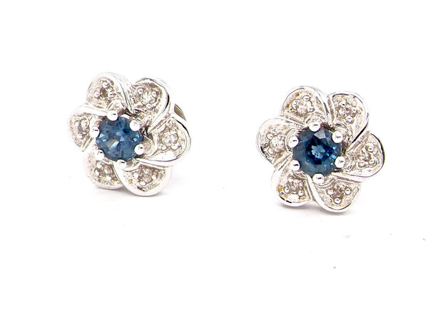 A pair of 18 carat white gold sapphire and diamond earrings