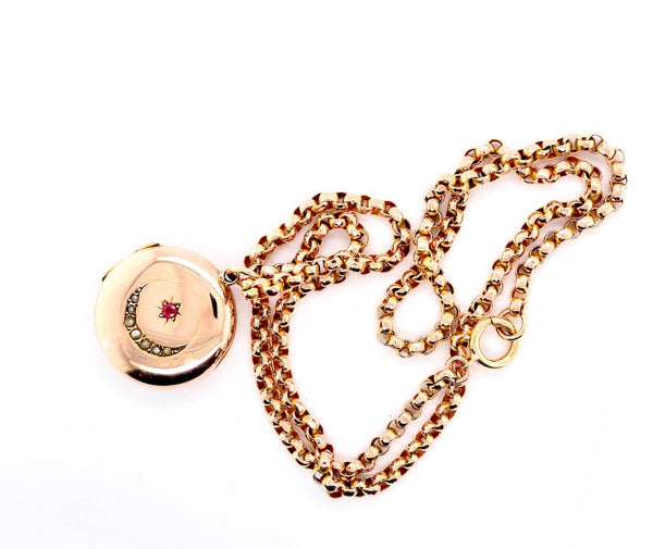 A Victorian ruby and pearl locket