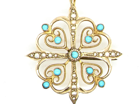 An Edwardian turquoise and pearl pendant or brooch