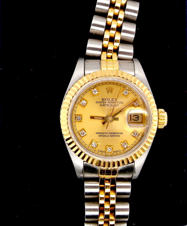 A woman's Rolex wrist watch ref 69173