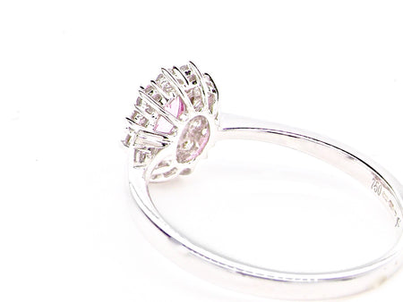 An 18 carat white gold pink sapphire and diamond ring *RESERVED*