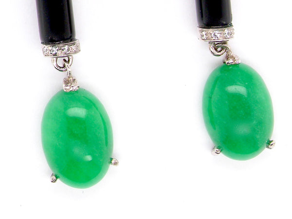 A pair of Art Deco jade and onyx drop earrings