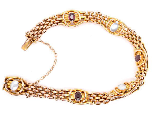 A vintage garnet and pearl gate bracelet *RESERVED*
